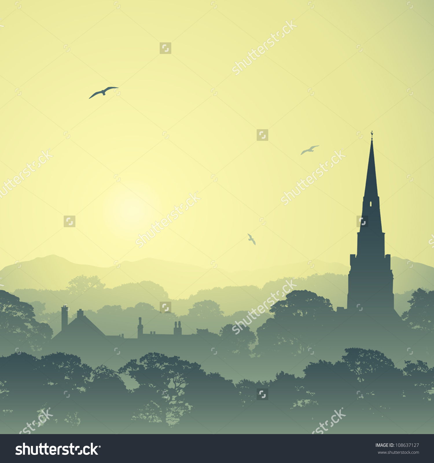 A Country Landscape With Church Spire And Trees Stock Vector.