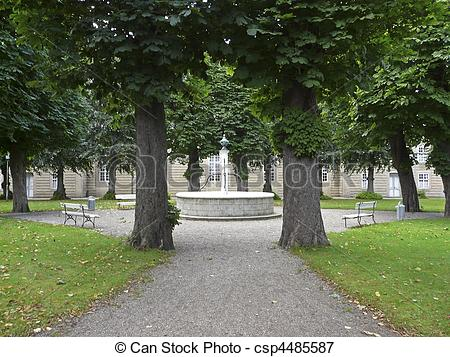 Picture of Church Square and fountain in Christiansfeld in Denmark.
