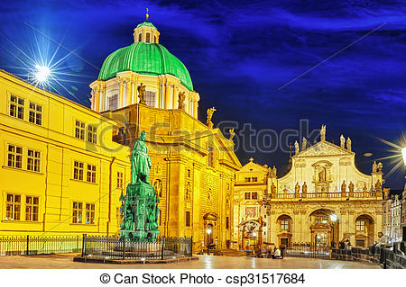 Pictures of Saint Francis of Assisi Church square in Prague.Czech.