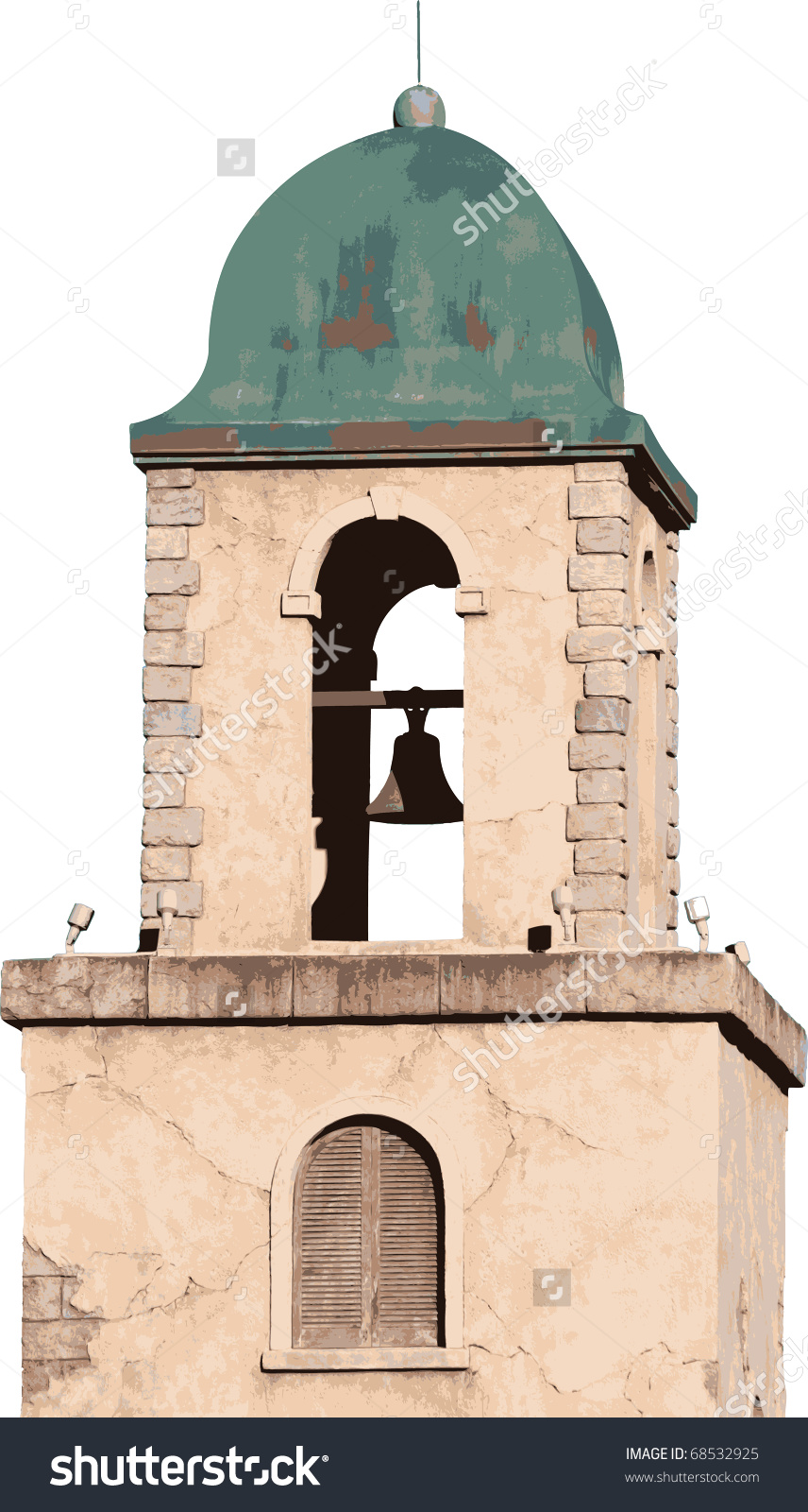 Old Spanish Style Stucco Building Bell Stock Vector 68532925.