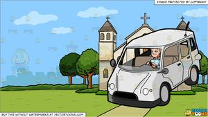 A Man Driving A Family Van and A Church Outside The City Background.