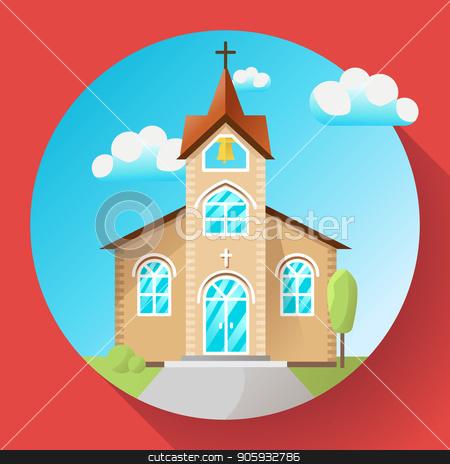 Vector church building icon flat stock vector.