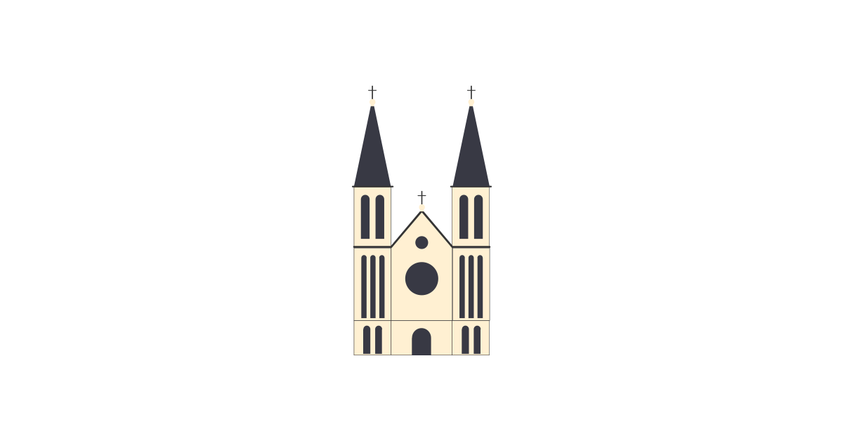TwoTowers Catholic Church Vector and PNG.