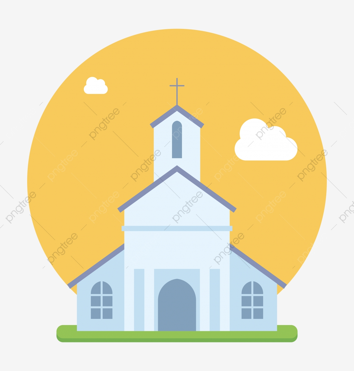 Beautiful Church Flat Vector, Religious, Christianity, Church PNG.