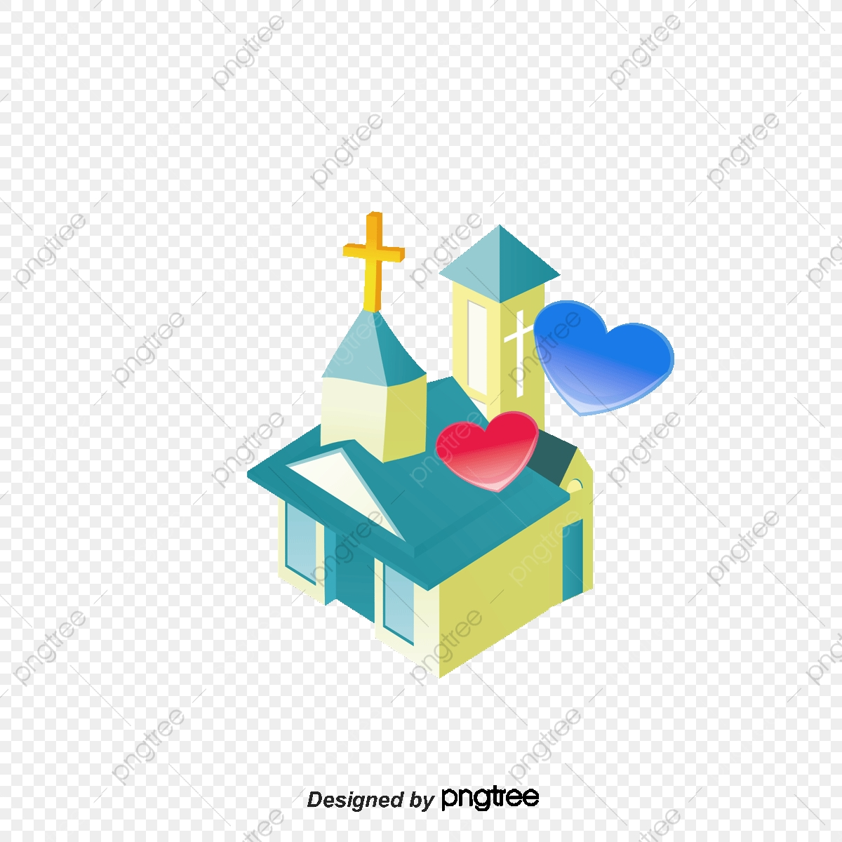 Church Png Vector Material, Building, Hearts, Cross PNG and Vector.
