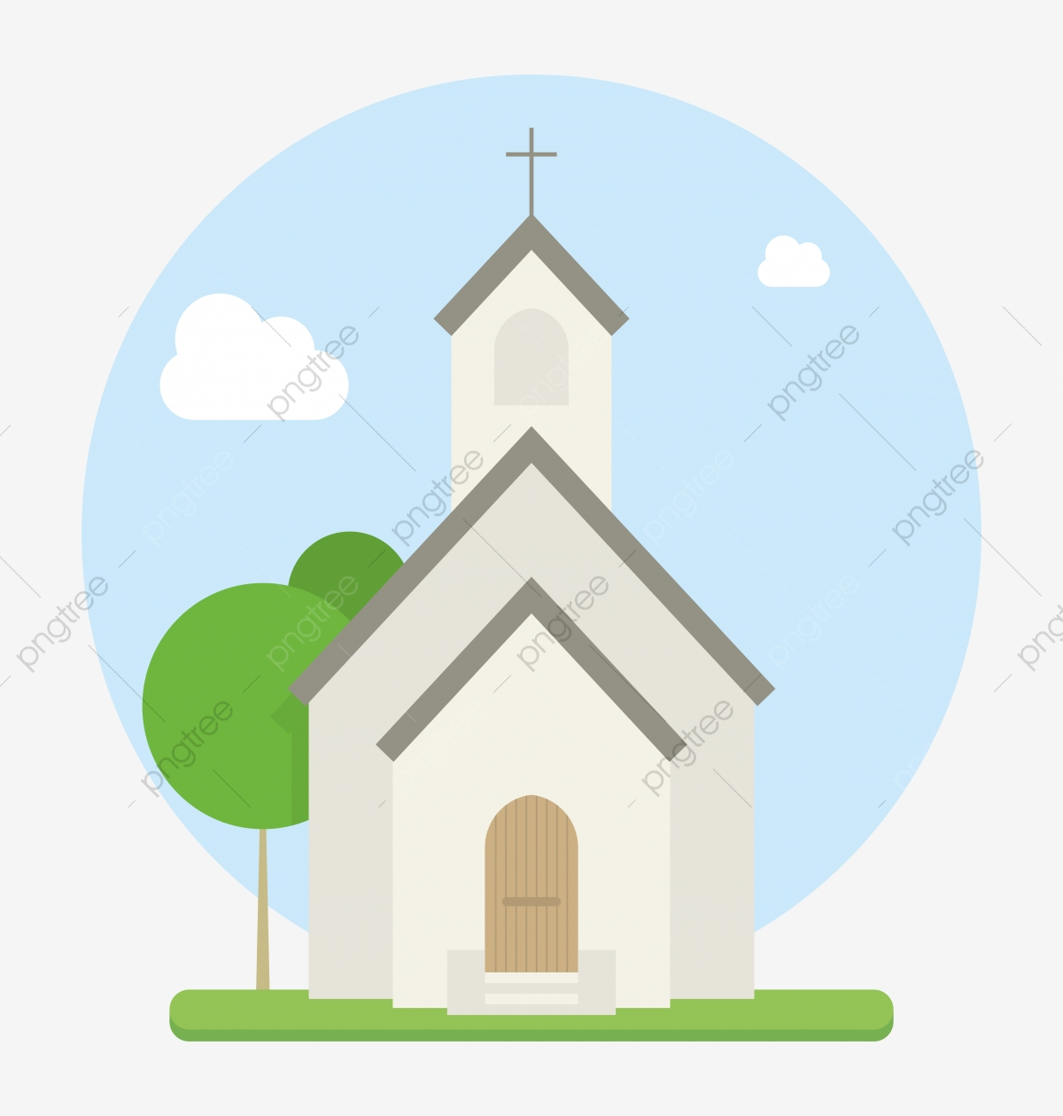 Small Urban Church Flat Vector, Religious, Christianity, Church PNG.