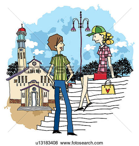 Stock Illustration of Teenage boy and girl sitting by church.