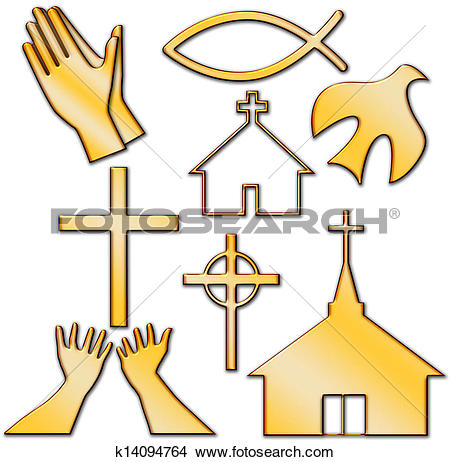 Drawings of Church and Other Christian Symbol Set k14094764.