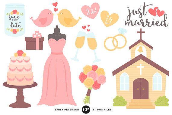 Wedding Clip Art, Wedding Dress Clipart, Church Clip Art.