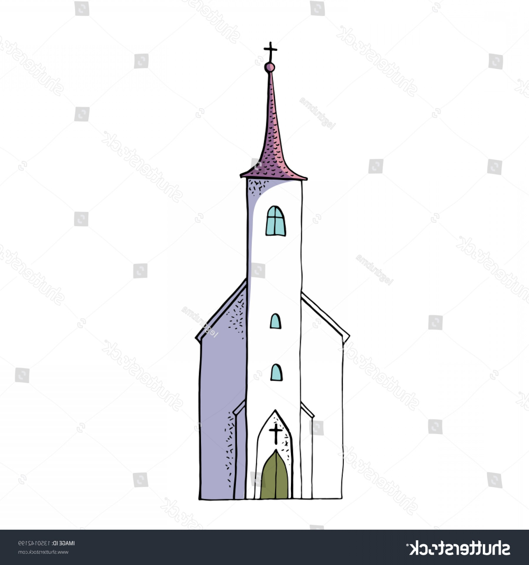 Wedding Clipart Old Christian Church Design.