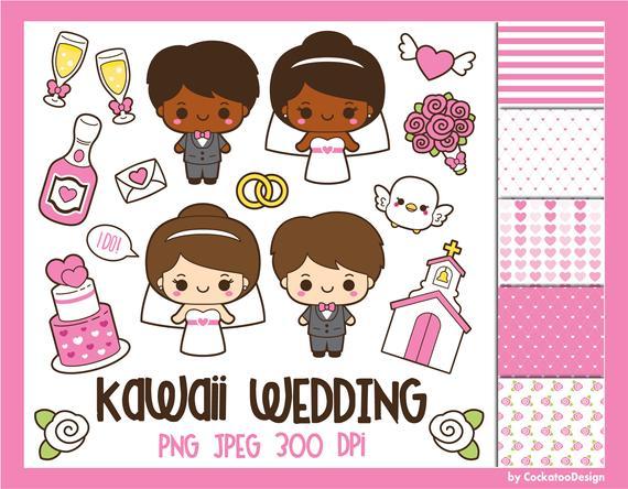 Kawaii wedding clipart, Valentine clip art, wedding clip art, bride.