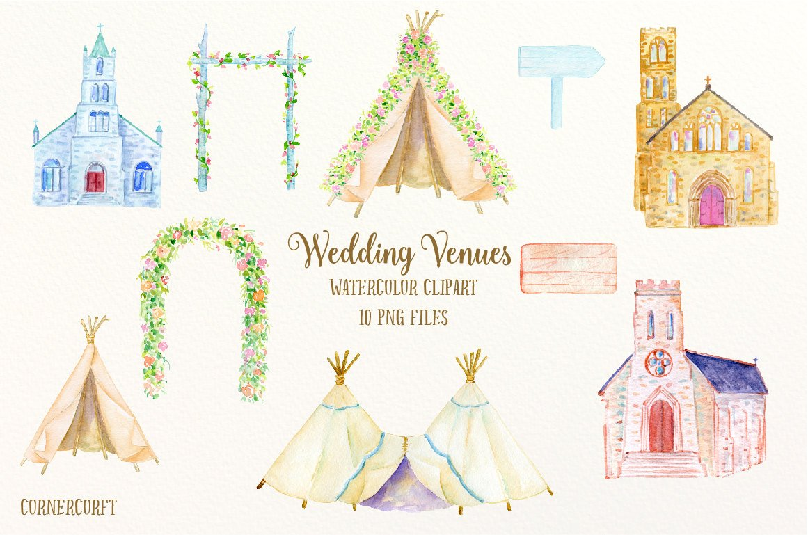 Watercolor Wedding Venues, wedding churches, wedding arch, teepee, wedding  clipart for instant download.
