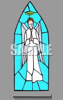 Church Window of Stained Glass Depicting an Angel.