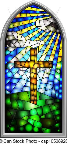 Cross In Church Window Clipart.