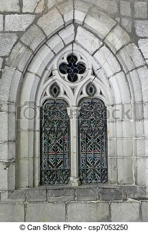 Stock Photography of outside view of church window.