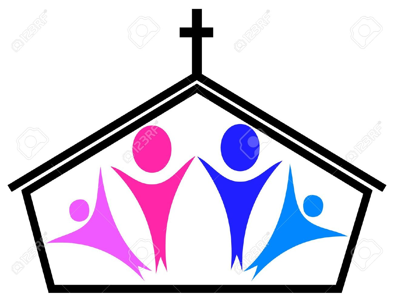 Church With People Clipart.