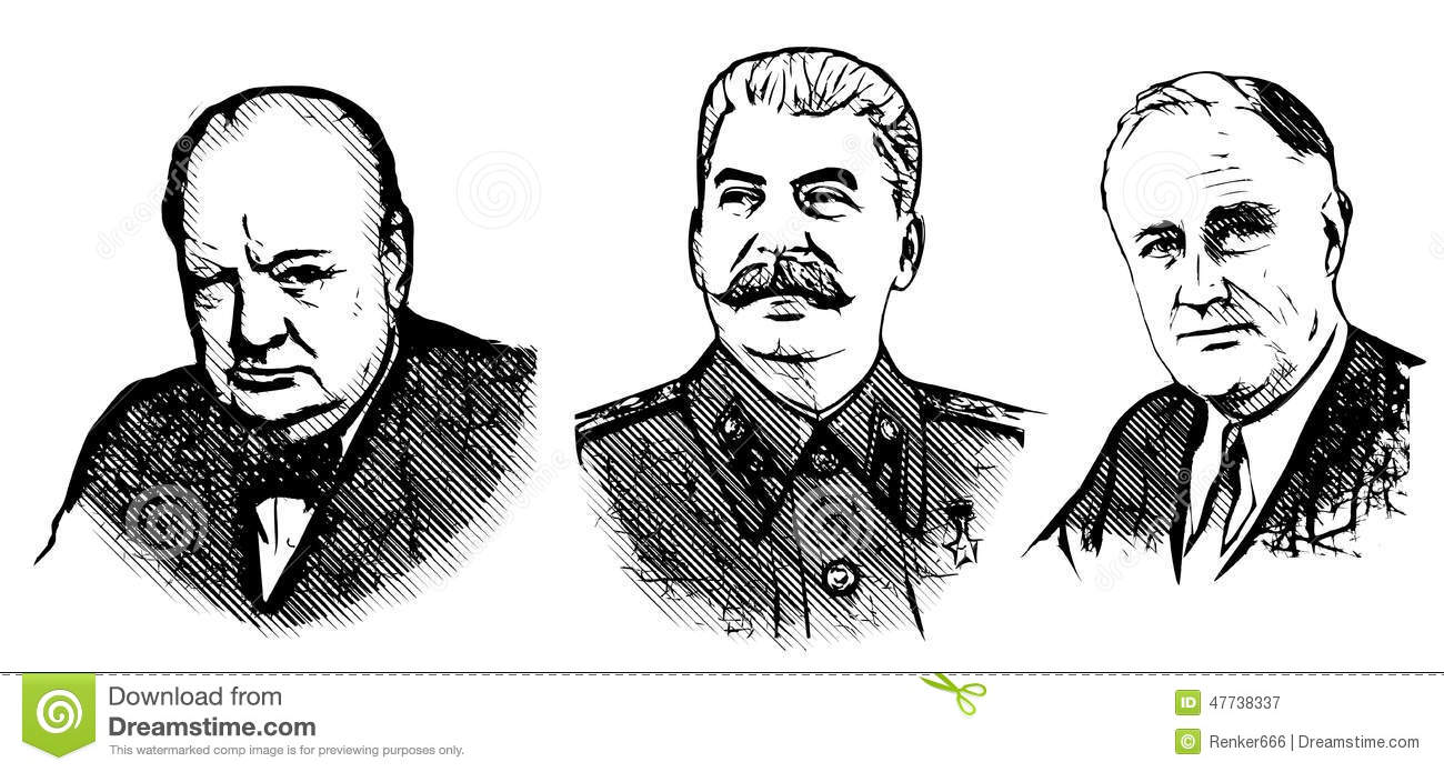 Churchill, Stalin And Roosevelt Editorial Photography.