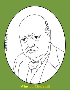 Winston Churchill Clip Art, Coloring Page, or Mini.