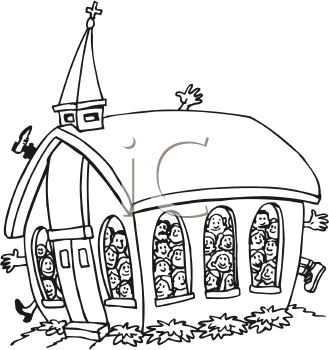 Clip art overflowing church.