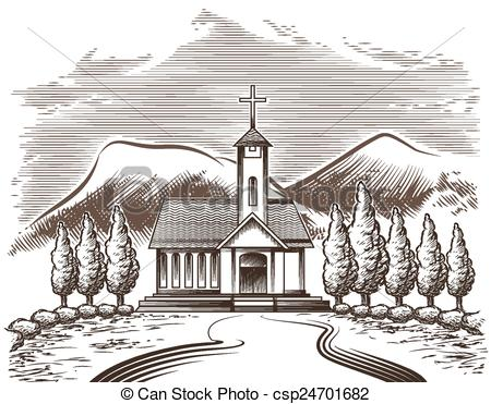Vector of Church landscape.
