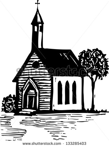Black White Vector Illustration Country Church Stock Vector.