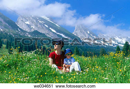 Stock Photography of Alps. Spring. View from Alp Sellamatt.