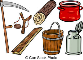 Clipart Vector of milk can or churn cartoon clip art.