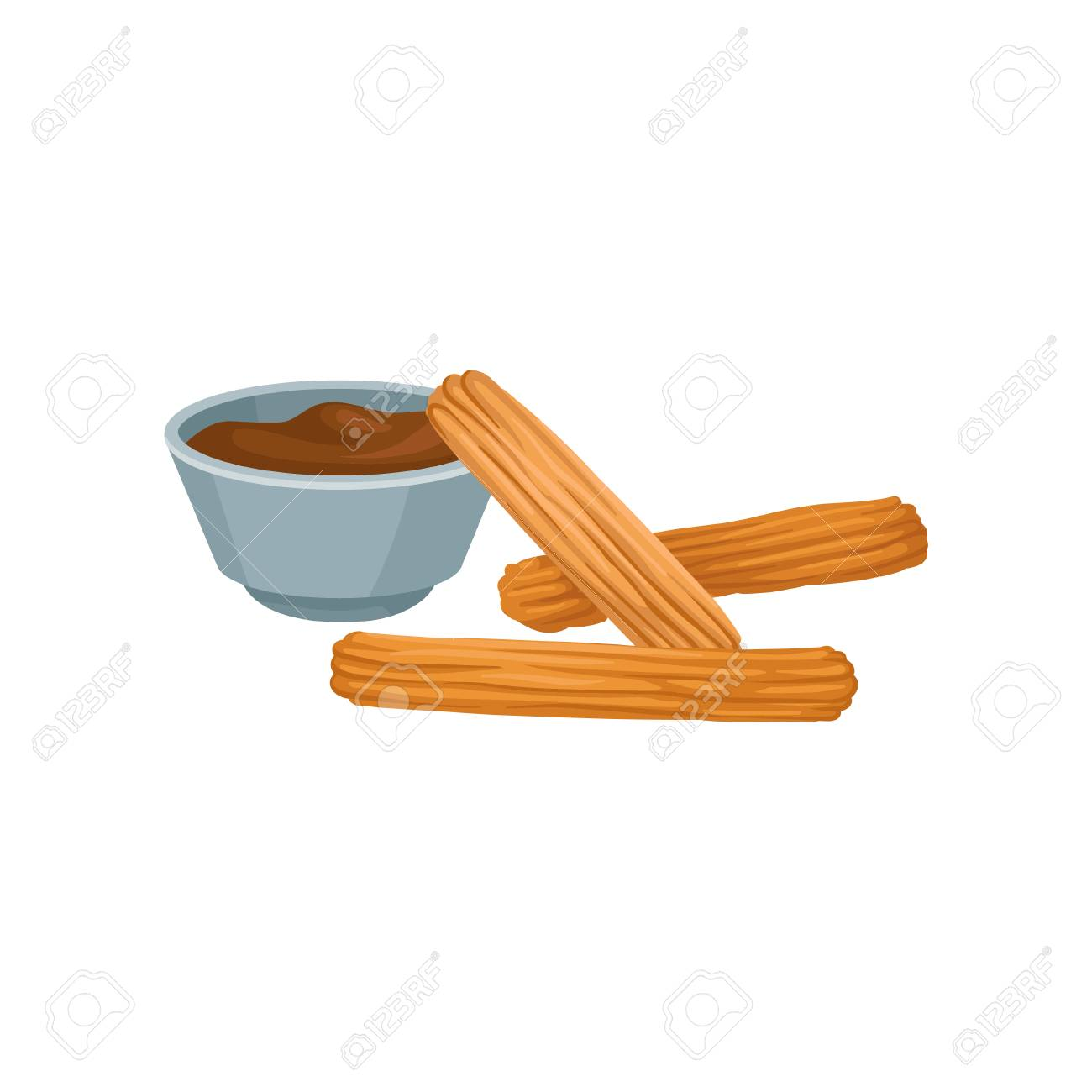 Sweet homemade churros with chocolate dipping sauce. Delicious...