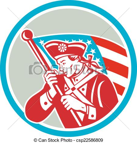 Vector Clipart of American Patriot Soldier Waving Flag Circle.