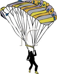 Colorful Cartoon of a Paratrooper Launching His Chute.