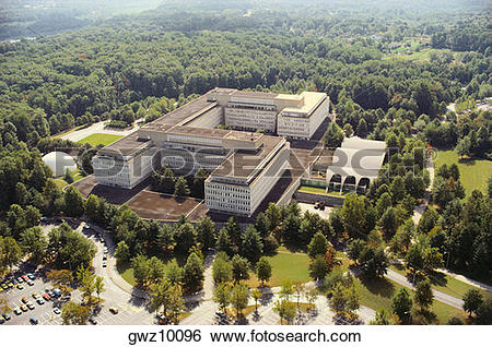 Stock Images of Aerial view of a government building in a city.