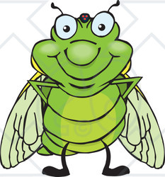 Clipart of a Happy Cicada Standing.