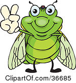 Clipart of a Happy Cicada Peeking over a Sign.