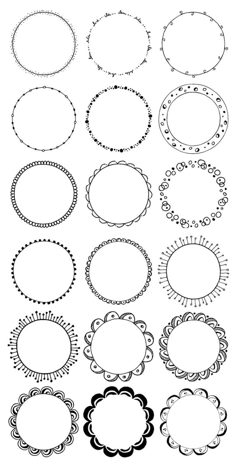 Round frames clipart. Hand drawn circles clipart. Floral.