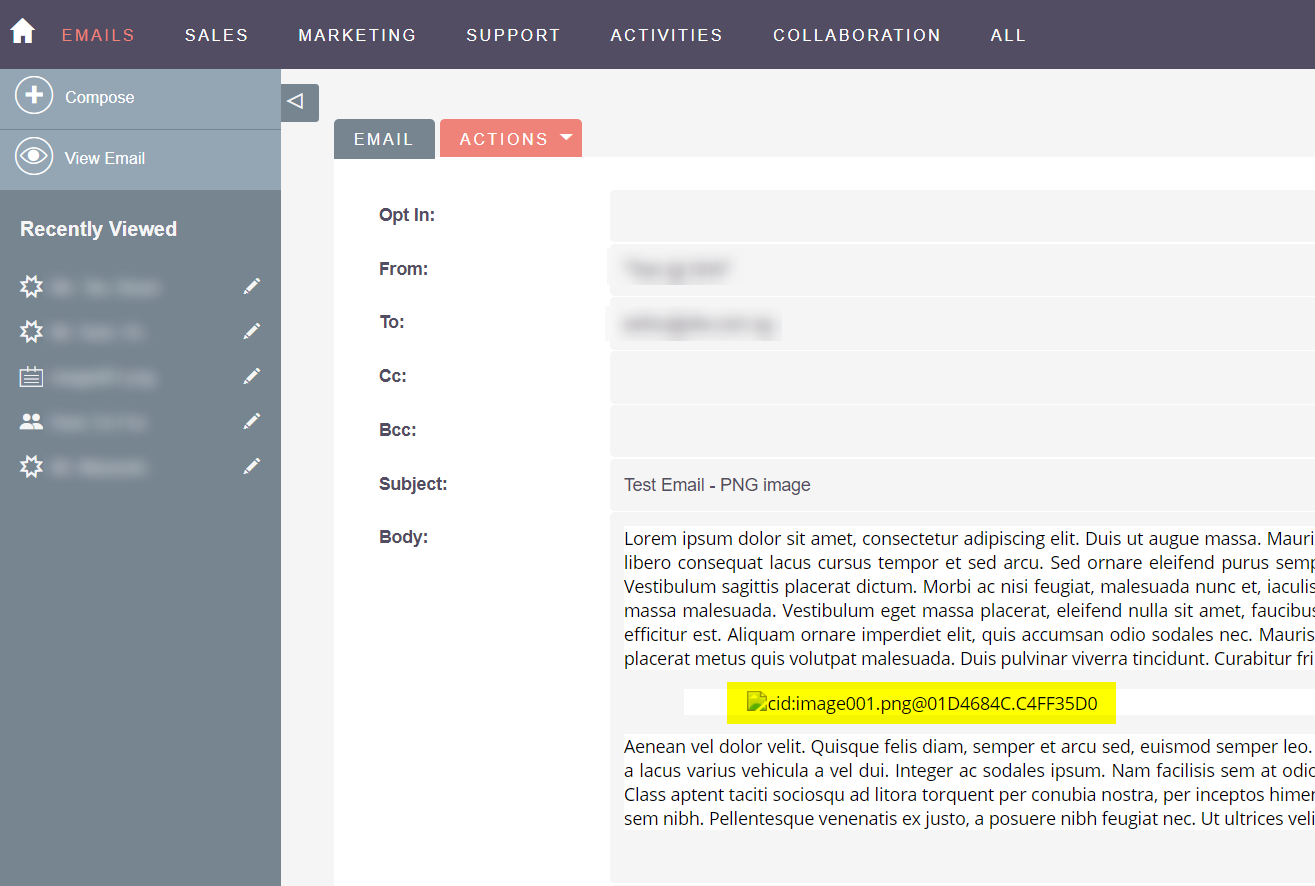 SuiteCRM Forums: Email module: Why is the inserted image not shown.