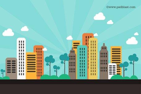 Fundo liso cor Resumo cidade (PSD) Clipart Picture.