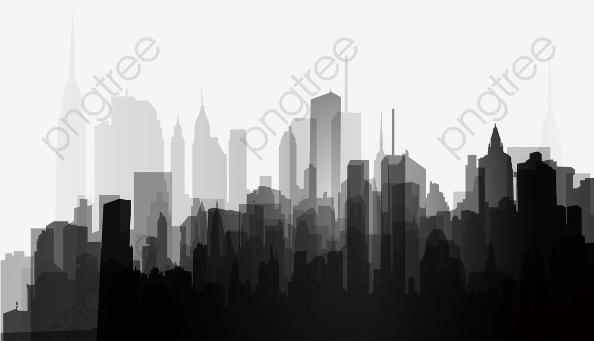 A Silhueta Da Cidade Em Preto E Branco, Preto E Branco, A Cidade, A.