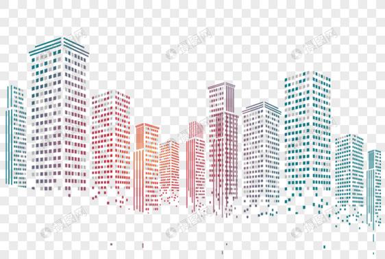 elemento de png colorido cidade silhueta Imagem Grátis_Gráficos.