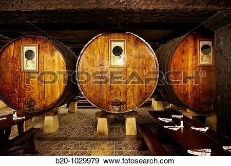 Stock Photograph of ?Kupela? barrels, Petritegi typical cider.