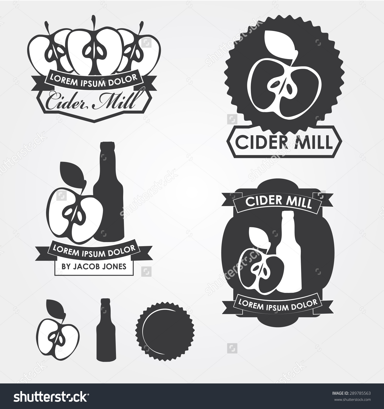 Cider Mill, Emblems, Design Elements Stock Vector Illustration.