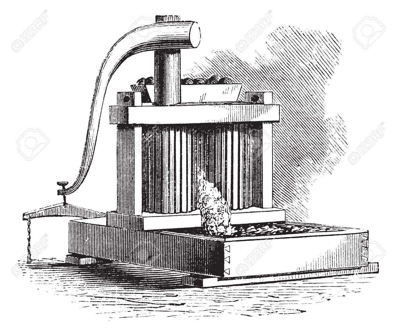 Cider Mill, Vintage Engraving. Old Engraved Illustration Of A.