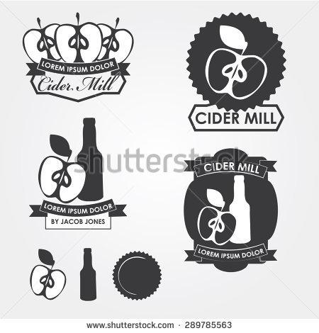 Cider Mill, Emblems, Design Elements Stock Vector Illustration.