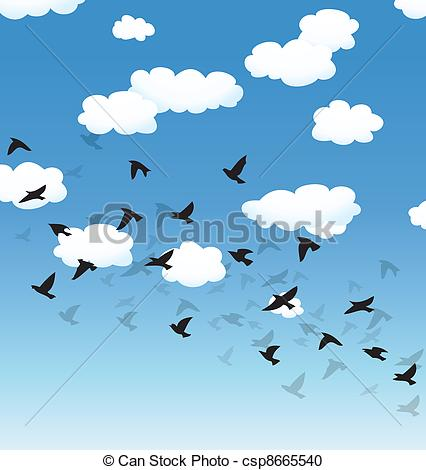 Vector Clipart of vector flying birds and clouds in the sky.