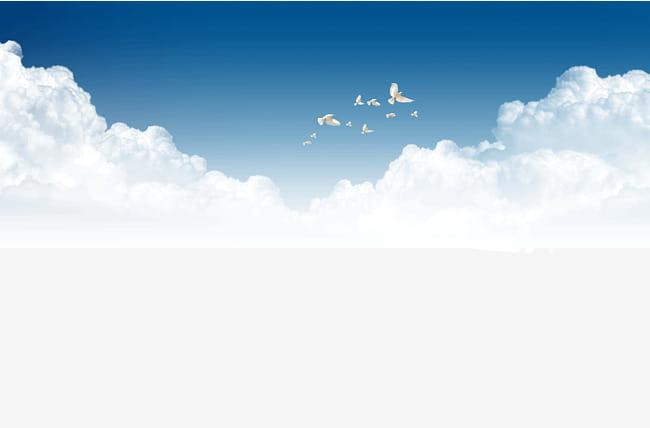 Palomas volando en el cielo PNG Clipart.
