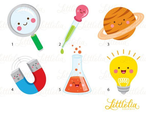 Science kawaii clipart.