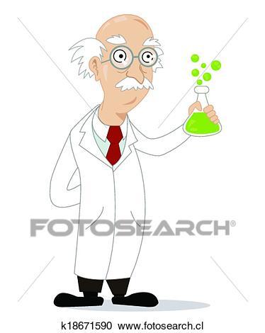 Divertido, caricatura, científico Clipart.