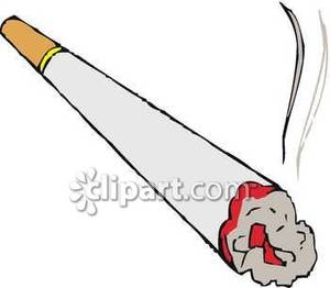Lit End of a Cigarette Royalty Free Clipart Picture.