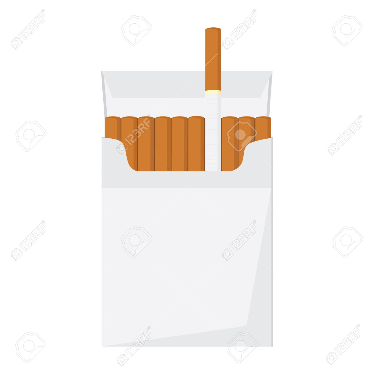 Opened Cigarette Pack With Cigarettes Vector Illustration.