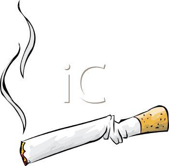 Royalty Free Clip Art Image: Bent Cigarette.