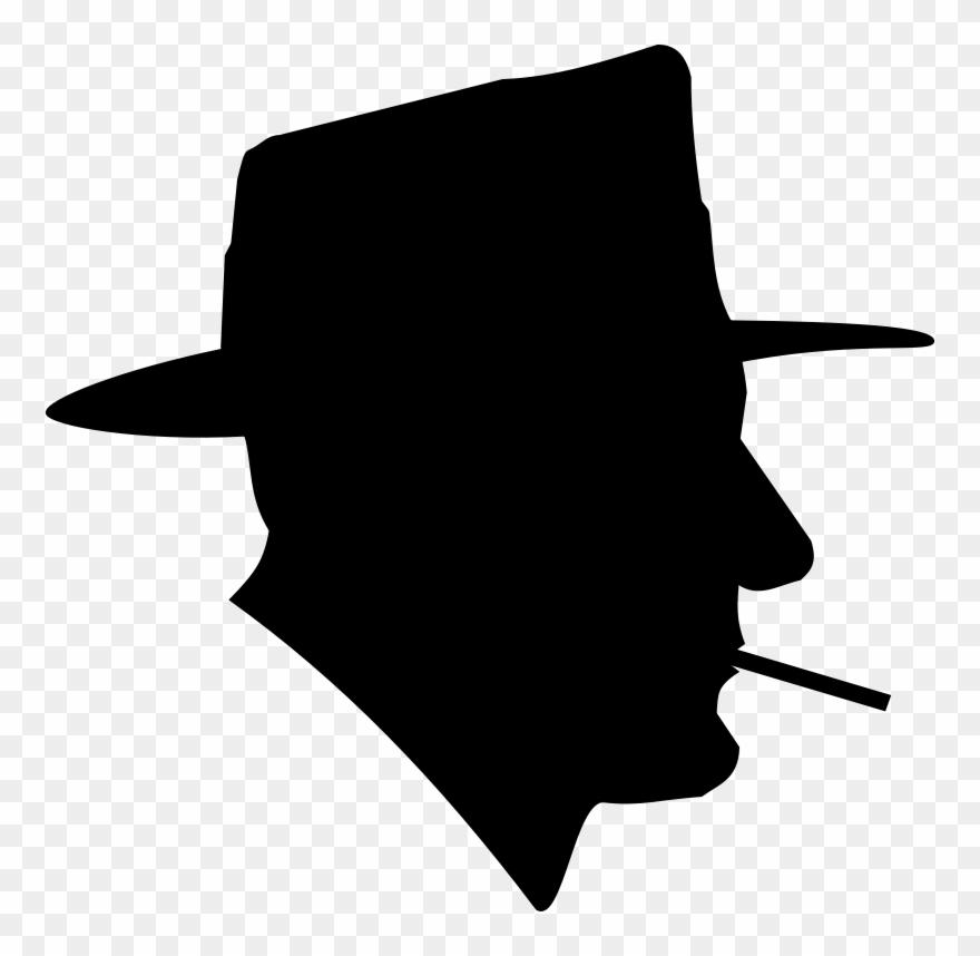Free Cigarette Free Smoking Man In Fedora Silhouette.